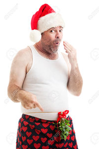 naughty underwear pics lisafx scruffy looking man his underwear christmas mistletoe tied around waist naughty stock photo