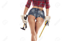 nice sexy ass pic pjphotography nice sexy woman mechanic showing bum buttock holding hammer pliers measuring tape isolated stock photo ass work