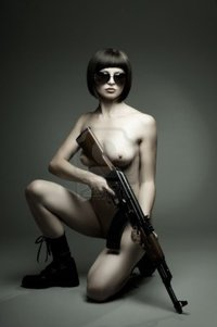 nude girl pics tankist sensuality beautiful sexy nude girl submachine gun dark background glamour light photo