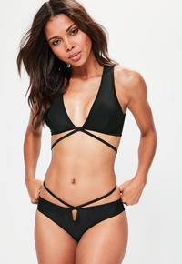 nude women in bikinis missguided set black deep plunge wrap around bikini clothing swimwear