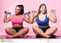 photos of chubby women pair chubby women sitting holding dumbbells getting strong portrait nice plump floor small both hands against stock photo supporting each pretty smiling lady shoulders mulatto female friend