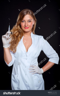 pictures of sexy nurses stock photo portrait sexy young nurse syringe black background pic