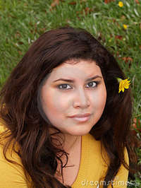 plump woman pics young plump woman yellow sweater flower stock photography