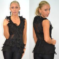 sexy black ladies photos combine itm ladies ruffled sheer frill tie blouse sexy black shirt