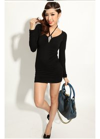sexy black ladies photos waterpicture women ladies sexy elegant luxury modern long sleeve backless corset black mini short clubwear dress skirt products