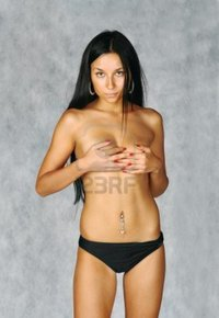 sexy brunette images mettus sexy brunette topless covers breast hands grey background photo
