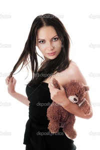 sexy brunette images depositphotos sexy brunette teddy bear stock photo