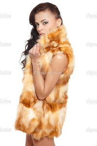 sexy nude brunettes depositphotos young pretty beautiful sexy nude brunette girl fur coat bright makeup long curly hair isolated white stock photo