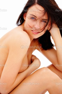 sexy nude pics depositphotos closeup portrait sexy nude happy young girl sitting isolate stock photo