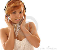 sexy red head girl pics sexy redhead girl listening music royalty free stock photo