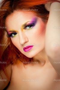 sexy red headed women depositphotos portrait sexy woman multicolored make long red hair stock photo