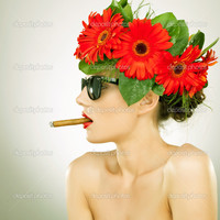 sexy red headed women depositphotos side relaxed sexy woman smoking stock photo