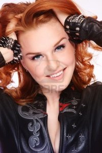 sexy red headed women pepperbox portrait beautiful sexy redhead woman black leather biker jacket photo
