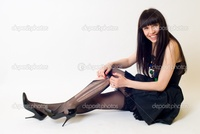 sexy woman stockings depositphotos young woman torn stockings stock photo