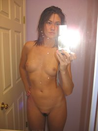 skinny naked girl hbiunh selfie exotic looks toothpaste mirror