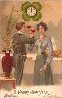 vintage picture galleries antiques newyear holiday year postcard gallery couple toasting card