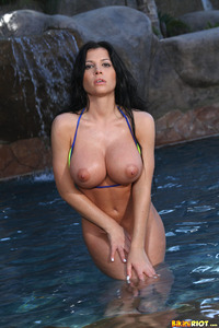 wet thongs porn pics rebeca linares luscious dripping wet yellow thong bikini