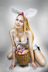 young big breast pics depositphotos sexy woman easter bunny basket eggs stock photo