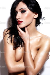 beautiful sexy nude black women depositphotos high fashion look glamor portrait beautiful sexy caucasian young brunette nude woman model bright makeup red lips black background perfect wet body stock photo