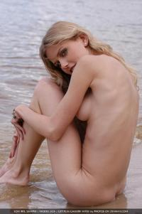 only shaved pussies naked blonde posing near river liza