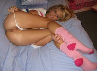 picture of pink pussy hot blonde teen pink socks pulls white panties shows pussy