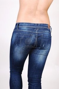 round butt image kurtvate topless hispanic woman jeans from back shooing nice round butt light gray background photo